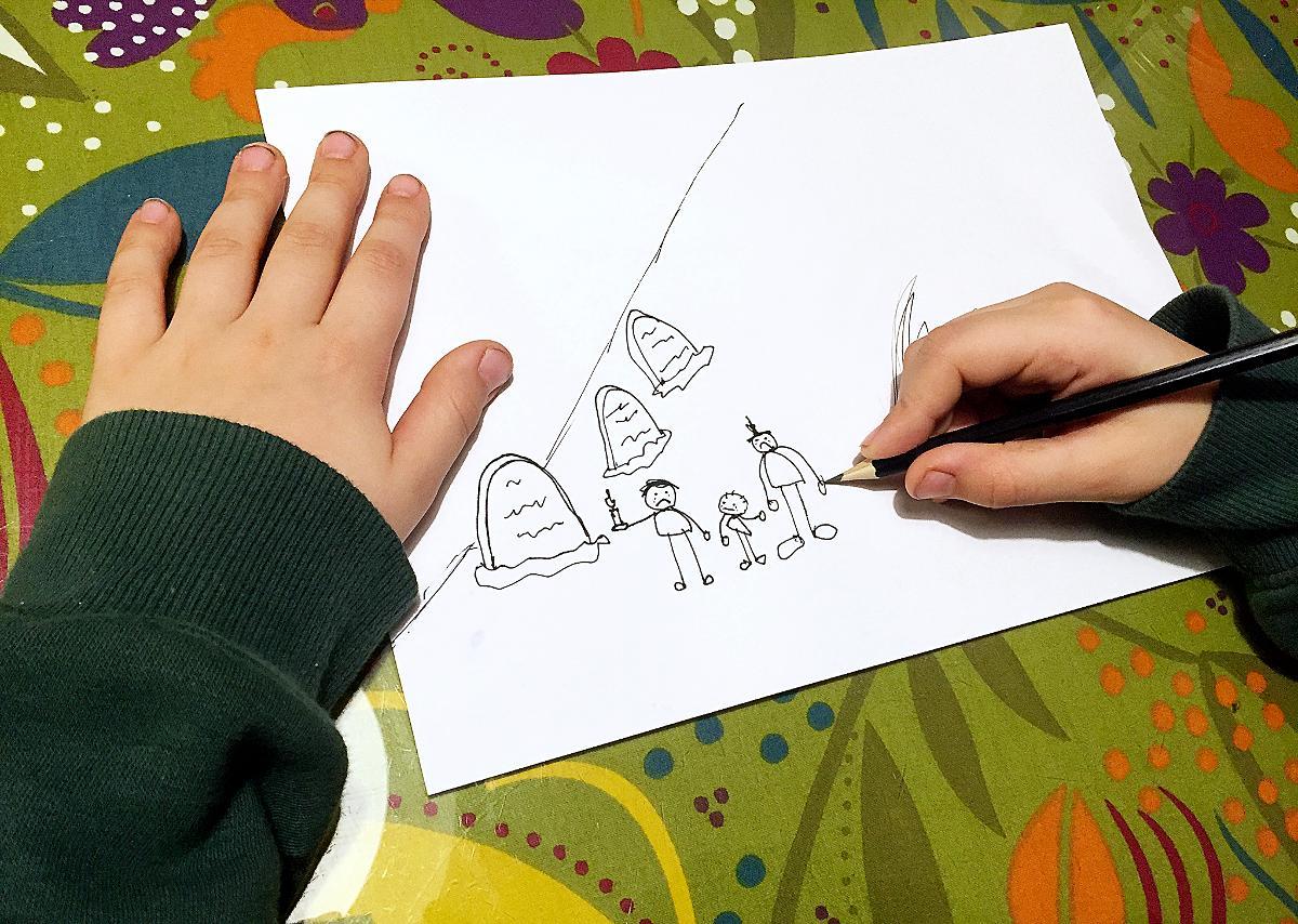 Kuva: Lapsi piirtää kuolemasta.