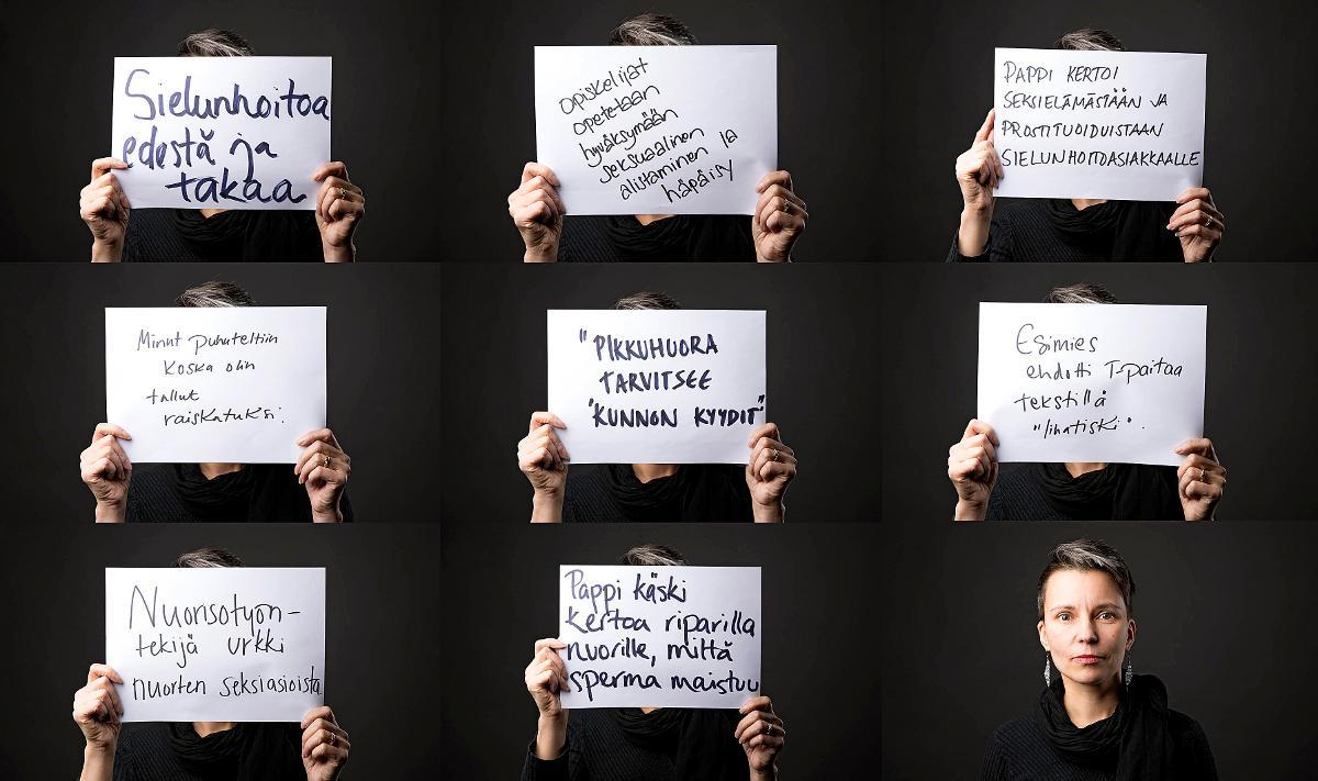 Kuva: Kuvitus juttuun seksuaalisesta häirinnästä ja ahdistelusta 1/2018 Rauhan Tervehdyksessä. KUvassa Satu Lapinlampi, joka vastaanottaa kokemuksia #totuuvapauttaa-sivustolle.