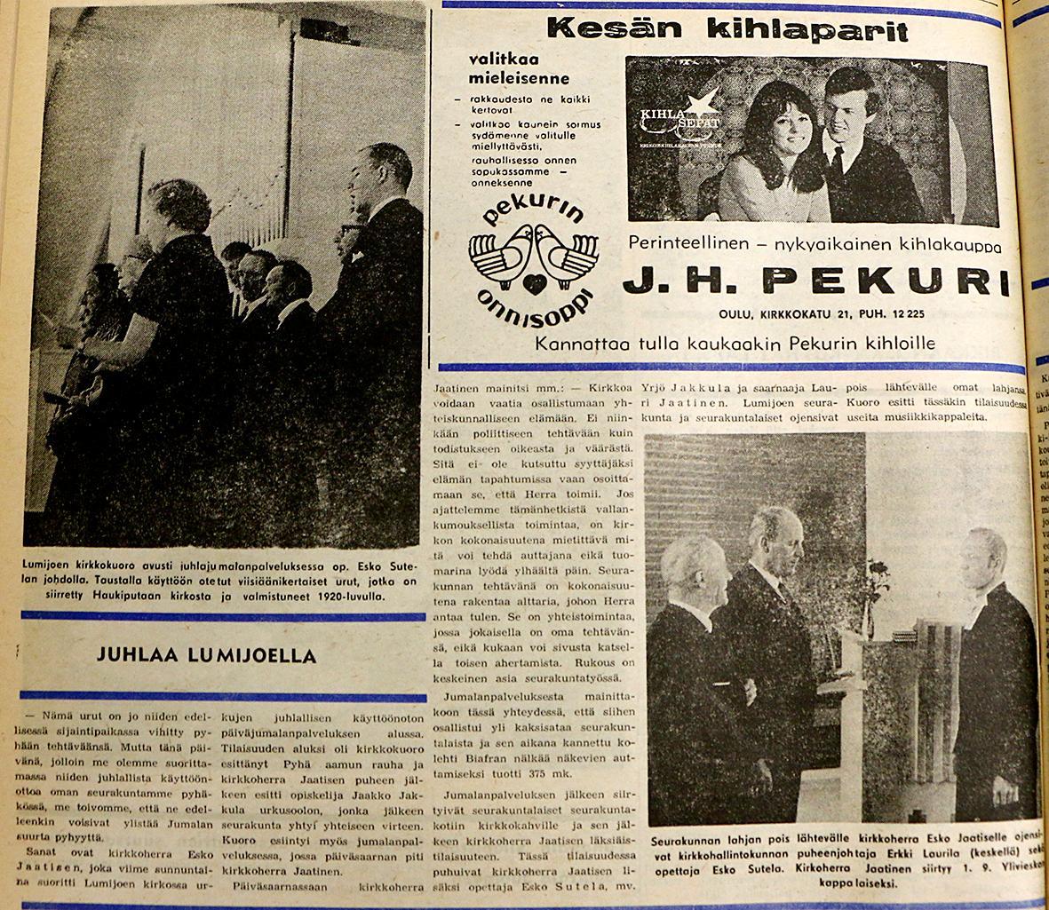 Kuva: Lehtileike RT 8.8.1968 Lumijoen kirkon uusien urkujen käyttöönottojuhlasta. Kuvituksena Lumijoen seurakunnan 100-vuotisjuhlan kuvakeräyksestä.