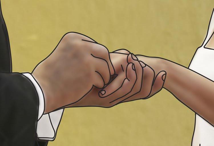 Piirroskuva jossa mies pujottaa vihkisormusta naisen sormeen.