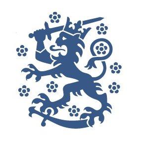 Korkeimman halllinto-oikeuden tunnuskuva, valkoisella pohjalla sininen leijona sapelin päällä miekka kädessään.