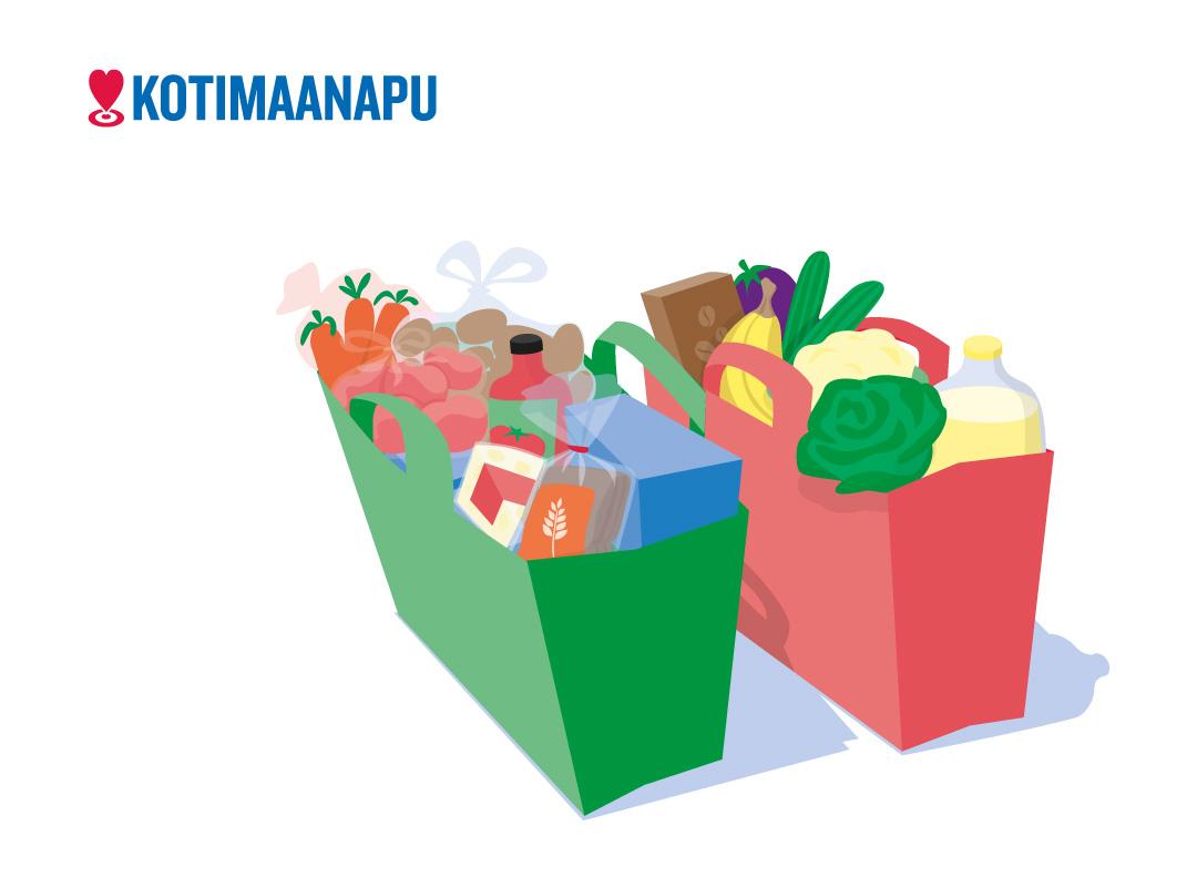 Piirroskuvassa näkyy kaksi täyttä ruokakassia ja Kotimaanavun tunnus.