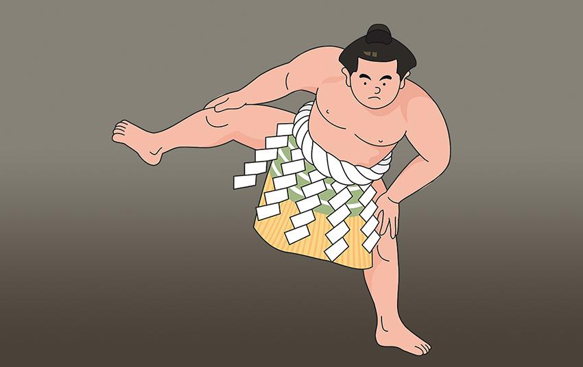 Piirretty sumopainija, joka nostaa toista jalkaansa.