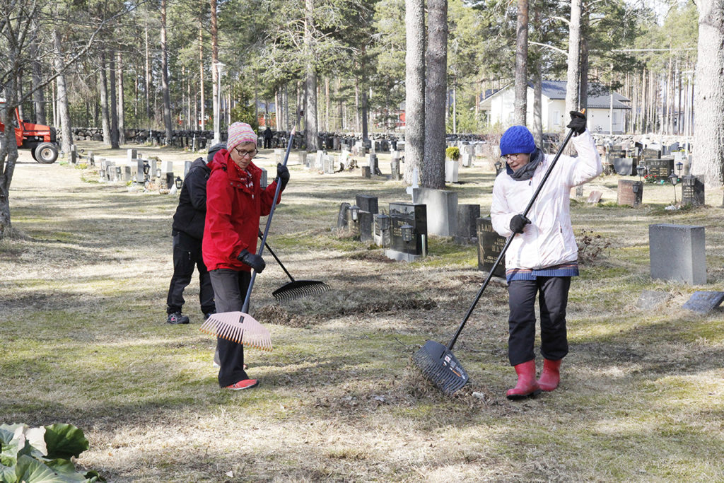 Eila Rautio ja Sinikka Säikkälä haravoivat Lumijoen hautausmaata.