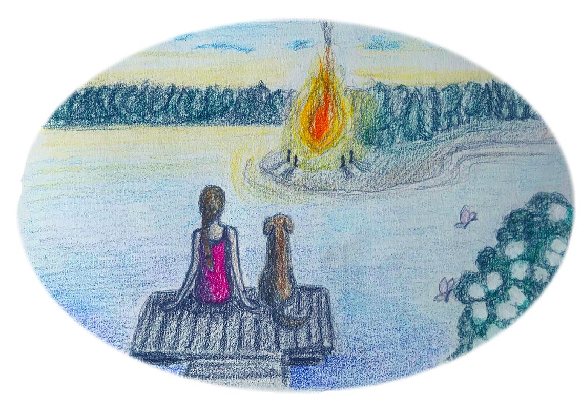 Piirroskuva, jossa tyttö ja koira istuvat laiturilla katsellen vastapäisellä rannalla palavaa kokkoa.